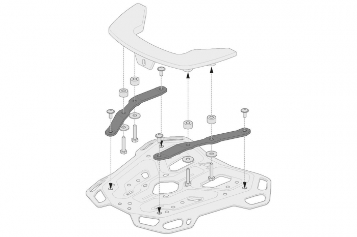 Kit adaptor pentru placa Top Case ADV Top-Rack negru pentru Krauser. [2]