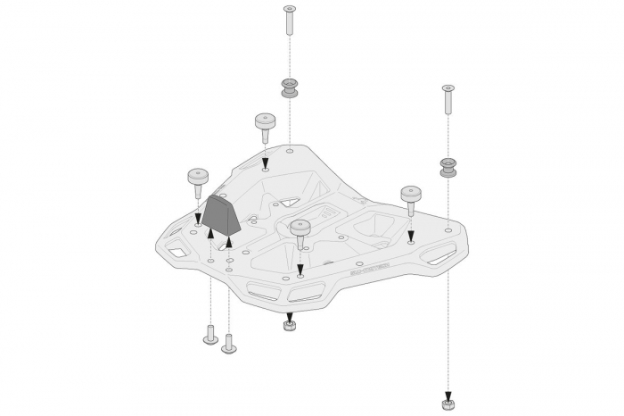 Kit adaptor pentru placa Top Case ADV Top-Rack negru pentru Shad. 1