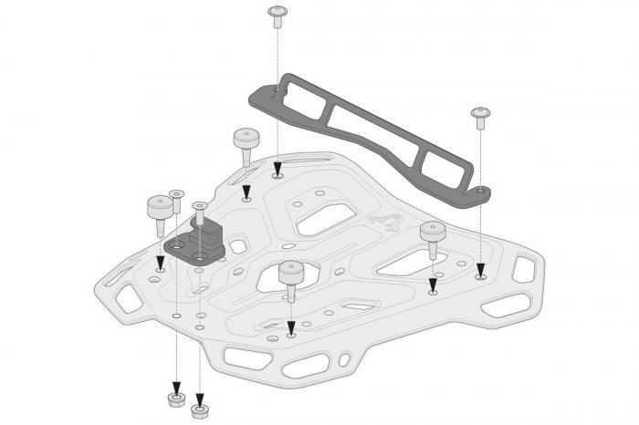 Kit adaptor pentru placa Top Case ADV Top-Rack negru pentru Shad. 0