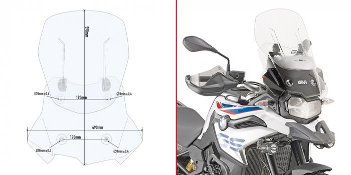Parbriz Givi Transparent cu Deflector Vant Airflow BMW F850GS F750GS (18-2021) [0]