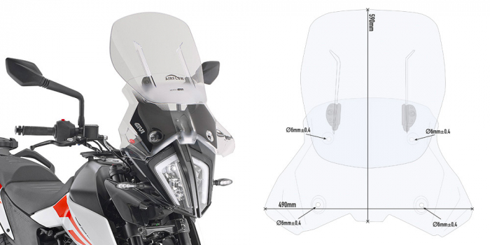 Parbriz Givi Transparent cu Deflector Vant Airflow KTM 390 Adventure (20) [0]