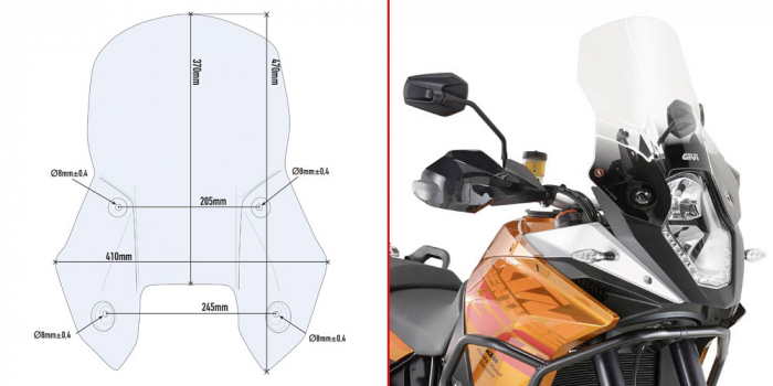 Parbriz transparent KTM 1190 Adventure R 0