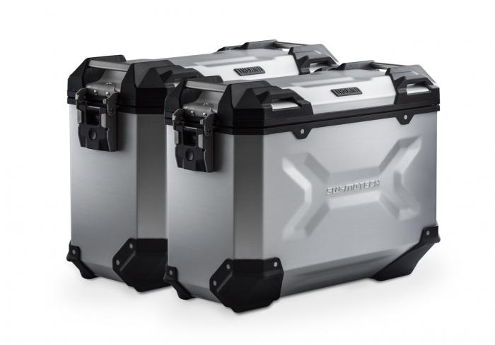 Set Side Case Argintiu. Trax Adv Aluminiu 37 l Pe stanga 37 l Pe dreapta. cu sistem fixareEvo pentru Honda NC 700 S / SD 2011- 0