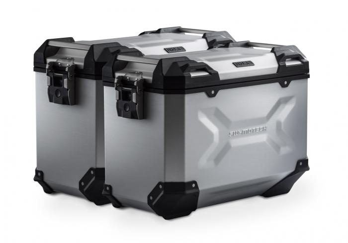 Set Side Case Argintiu. Trax Adv Aluminiu 45 l Pe stanga 45 l Pe dreapta. cu sistem fixareEvo pentru Honda NC 700 S / SD 2011- 0