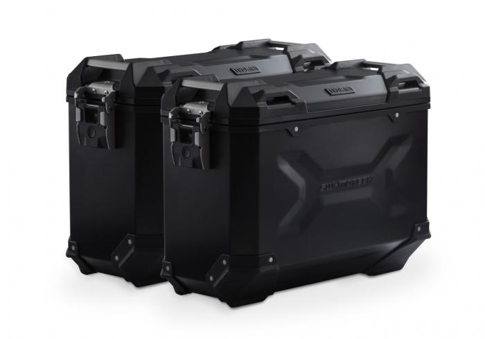 Set Side Case Negru. Trax Adv Aluminiu 37 l Pe stanga 37 l Pe dreapta. cu sistem fixareEvo pentru Honda NC 700 S / SD 2011- 0