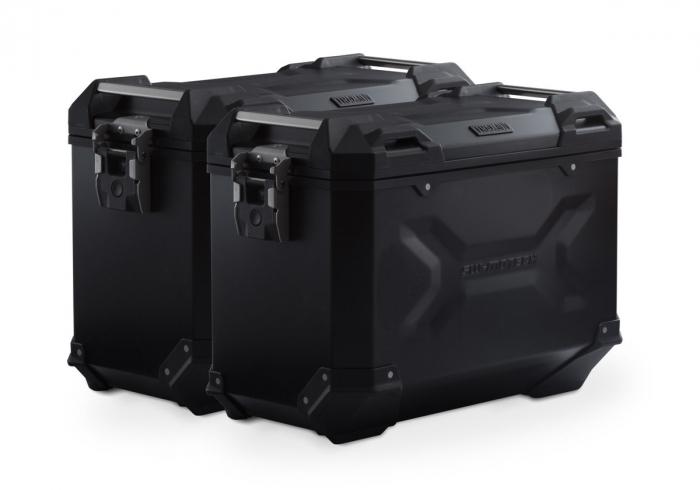 Set Side Case Negru. TRAX ADV Aluminiu 45 l Pe stanga 45 l Pe dreapta. cu sistem fixare EVO pentru Honda NC 700 S / SD 2011- 0