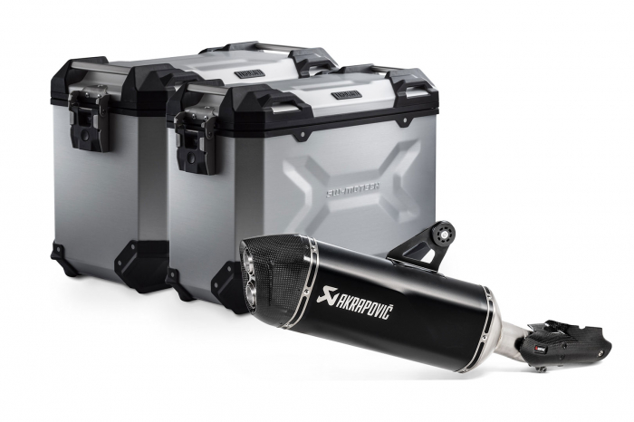 Sistem cutii laterale Trax Adv aluminiu 45/37 l. + Akrapovic BMW R 1250 GS/Adv/Rallye (18-). [0]