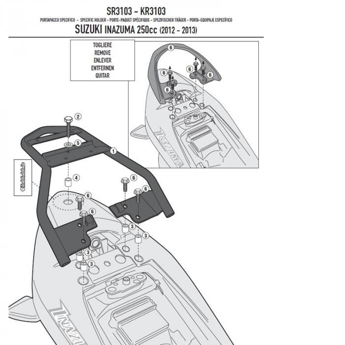 Suport Top Case MONOLOCK Suzuki INAZUMA 250 [0]