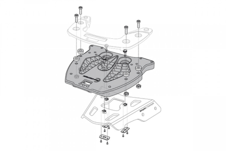 Adaptor placa Top Case KRAUSER. Fiber reinforced nylon. Negru1