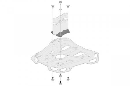 Kit adaptor pentru placa Top Case ADV Top-Rack negru pentru Rotopax. [1]