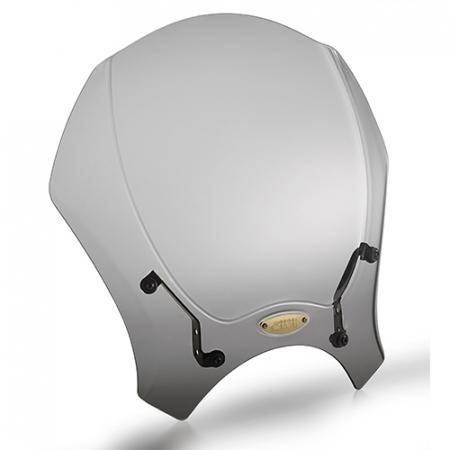 Parbriz universal fumuriu 35 x 41cm (H x W). Necesita kit montaj specific motocicletei