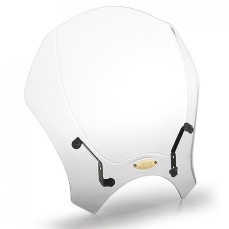 Parbriz universal transparent 35 x 41cm (H x W). Necesita kit montaj specific motocicletei