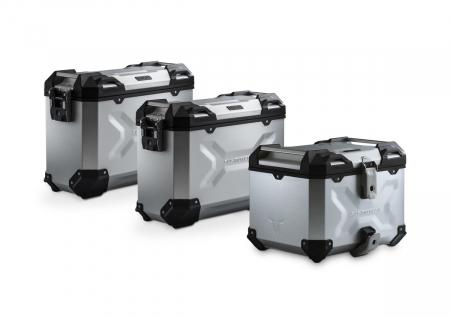 Set 3 cutii Adventure cu sistem fixare Argintiu. BMW F 750/850 GS. Stainless steel rack.