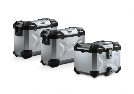 Set 3 cutii Adventure cu sistem fixare Argintiu. Honda NC750 S/SD, NC750 X/XD (16-).