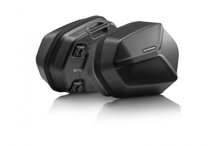 Set Side case AERO ABS 2x 25 l. ABS plastic. Negru.
