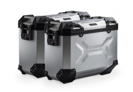 Set Side Case Argintiu. Trax Adv Aluminiu 37 l Pe stanga 37 l Pe dreapta. cu sistem fixareEvo pentru Honda NC 700 S / SD 2011-