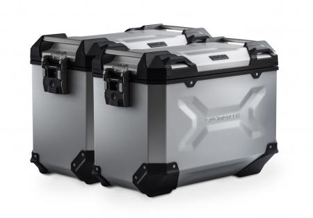 Set Side Case Argintiu. Trax Adv Aluminiu 45 l Pe stanga 45 l Pe dreapta. cu sistem fixareEvo pentru Honda NC 700 S / SD 2011-0