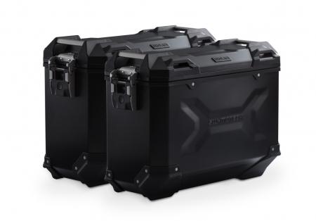 Set Side Case Negru. Trax Adv Aluminiu 37 l Pe stanga 37 l Pe dreapta. cu sistem fixareEvo pentru Honda NC 700 S / SD 2011-