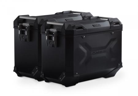 Set Side Case Negru. TRAX ADV Aluminiu 45 l Pe stanga 45 l Pe dreapta. cu sistem fixare EVO pentru Honda NC 700 S / SD 2011-0