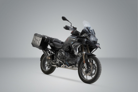 Sistem cutii laterale Trax Adv aluminiu 45/37 l. + Akrapovic BMW R 1250 GS/Adv/Rallye (18-). [1]