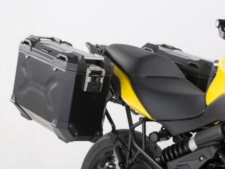 Sistem cutii laterale Trax Adv aluminiu Negru . 37/37 l. Kawasaki Versys 650 (15-).