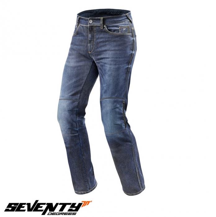 Blugi (jeans) moto barbati Seventy model SD-PJ2 tip Regular fit culoare: albastru (cu insertii Aramid Kevlar) [1]