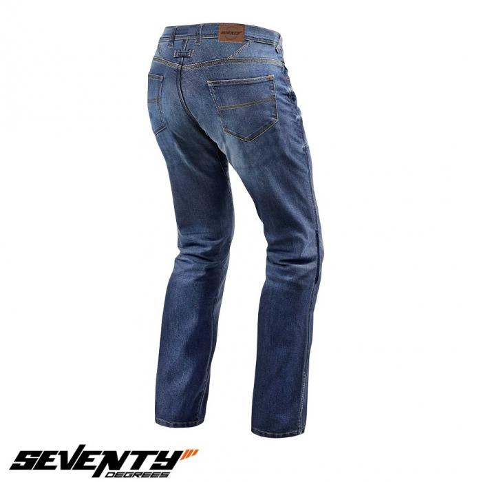 Blugi (jeans) moto barbati Seventy model SD-PJ2 tip Regular fit culoare: albastru (cu insertii Aramid Kevlar) [2]