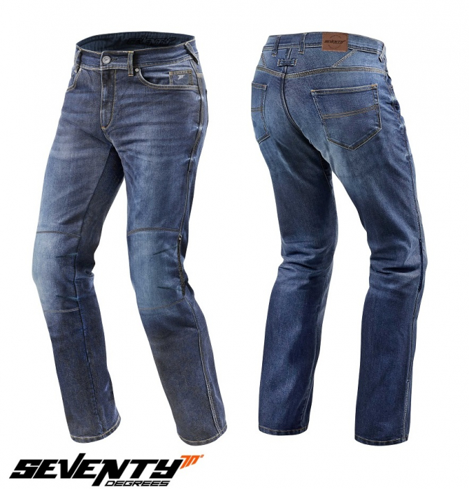 Blugi (jeans) moto barbati Seventy model SD-PJ2 tip Regular fit culoare: albastru (cu insertii Aramid Kevlar) [0]