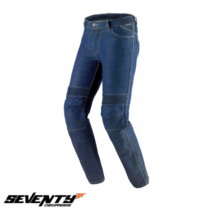 Blugi (jeans) moto barbati Seventy model SD-PJ6 tip Slim fit culoare: albastru (insertii Aramid Kevlar) [1]