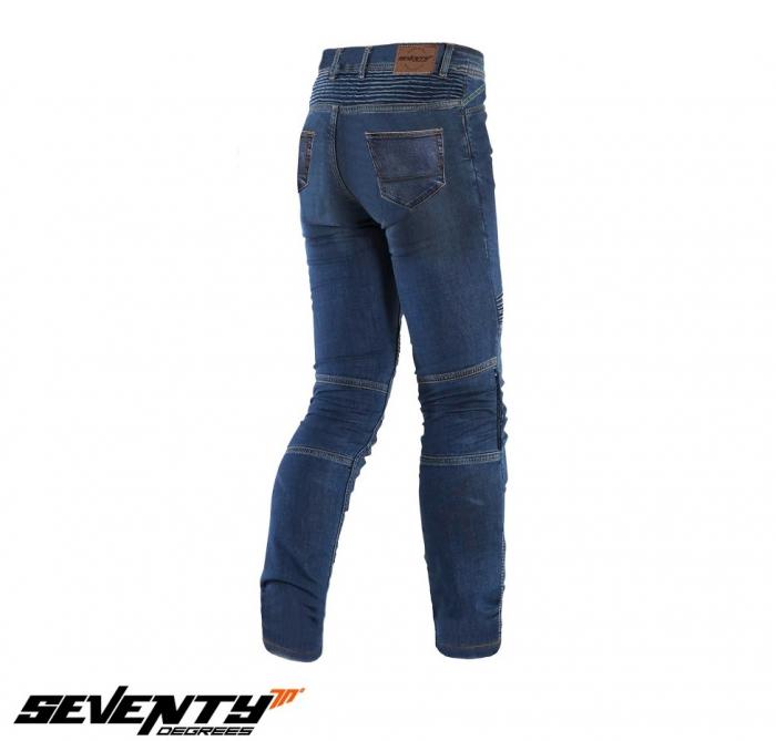 Blugi (jeans) moto barbati Seventy model SD-PJ6 tip Slim fit culoare: albastru (insertii Aramid Kevlar) [2]