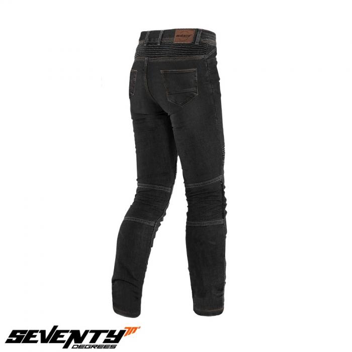 Blugi (jeans) moto barbati Seventy model SD-PJ6 tip Slim fit culoare: negru (cu insertii Aramid Kevlar) [2]