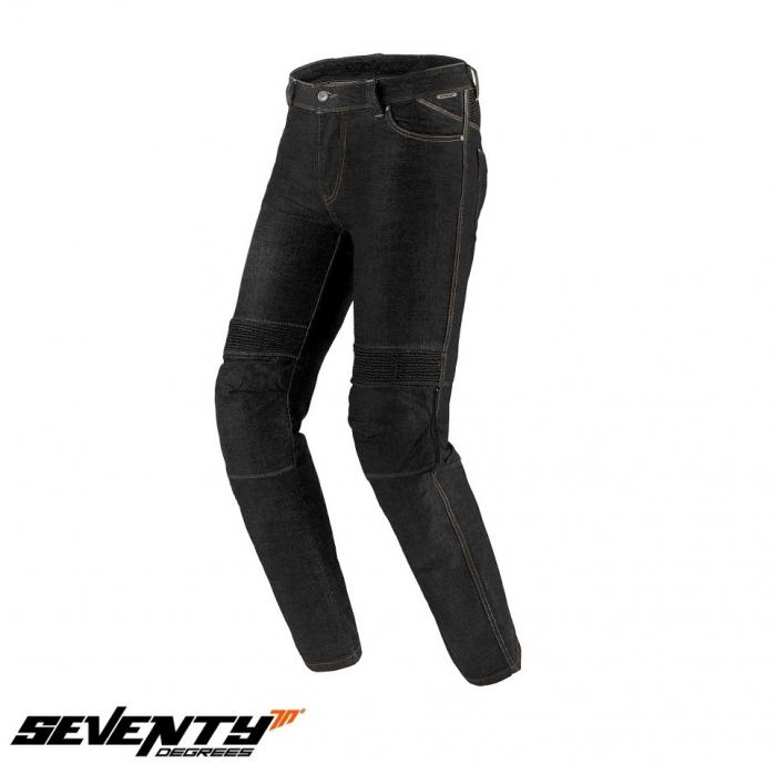 Blugi (jeans) moto barbati Seventy model SD-PJ6 tip Slim fit culoare: negru (cu insertii Aramid Kevlar) [1]