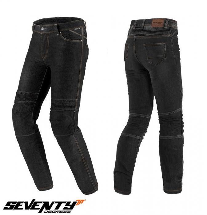 Blugi (jeans) moto barbati Seventy model SD-PJ6 tip Slim fit culoare: negru (cu insertii Aramid Kevlar) [0]