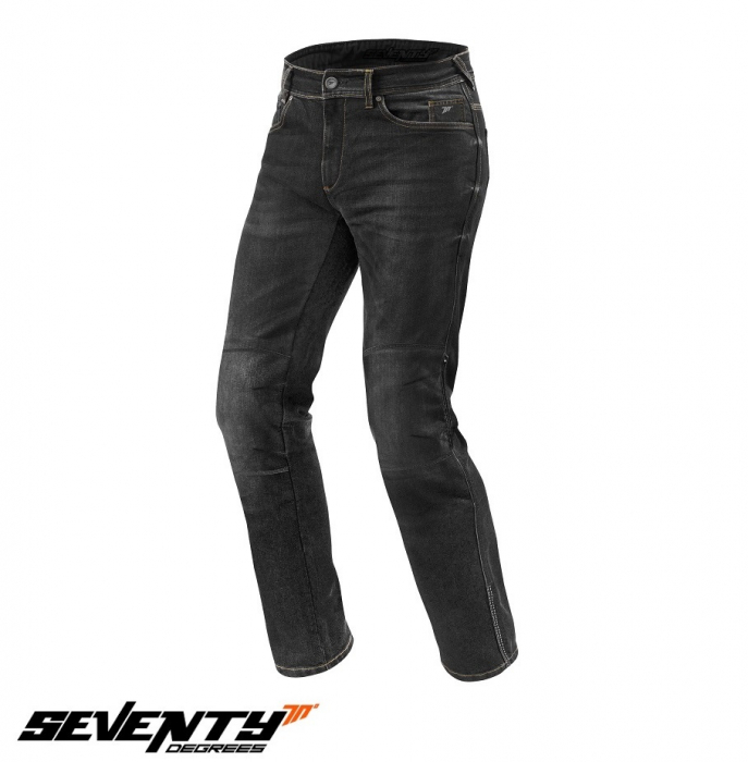 Blugi (jeans) moto femei Seventy model SD-PJ4 tip Regular fit culoare: negru (cu insertii Aramid Kevlar) [1]