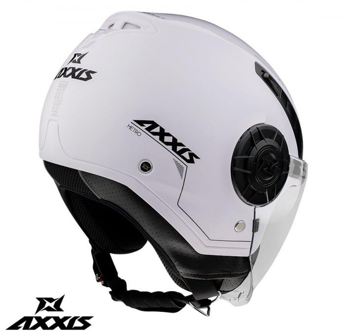 Casca Axxis model Metro A0 alb lucios (open face) [2]
