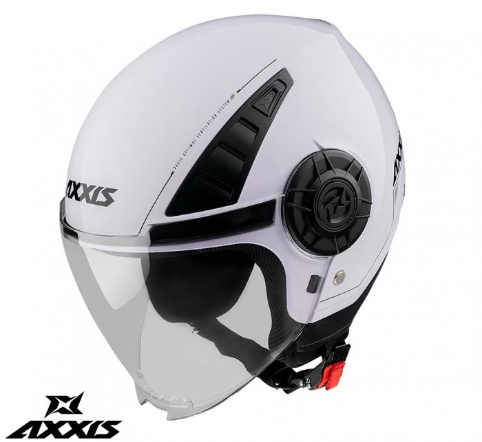 Casca Axxis model Metro A0 alb lucios (open face) [0]