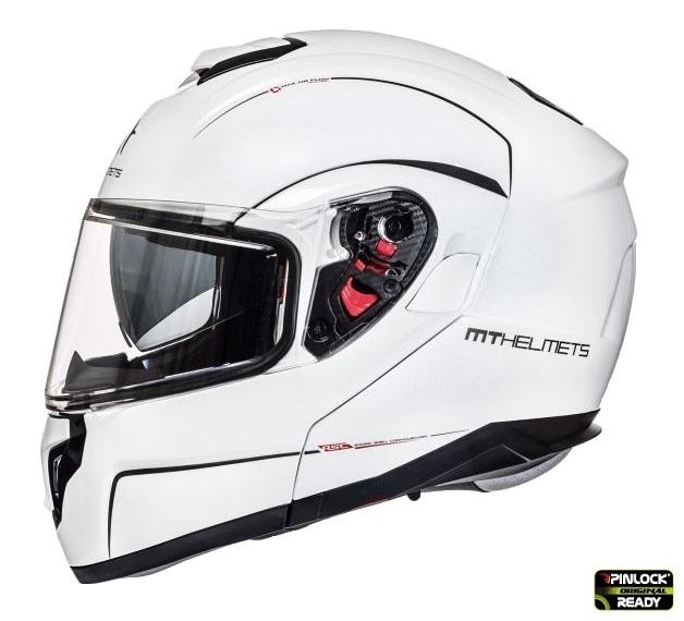 Casca integrala modulabila motociclete MT Atom SV alb lucios Pinlock ready [0]