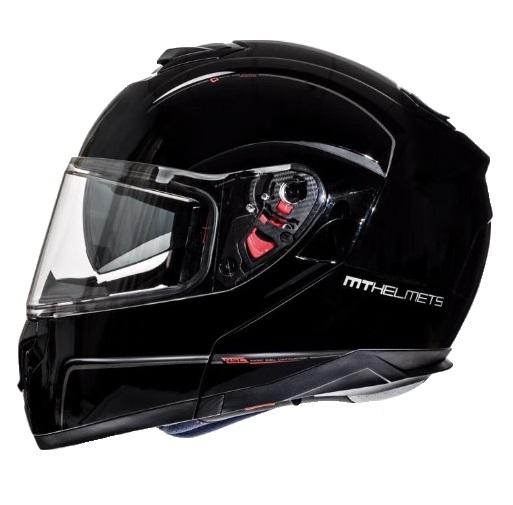 Casca integrala modulabila motociclete MT Atom SV negru lucios Pinlock ready [0]
