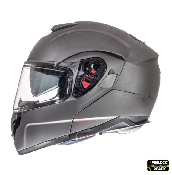 Casca integrala modulabila motociclete MT Atom SV titanium mat Pinlock ready [0]