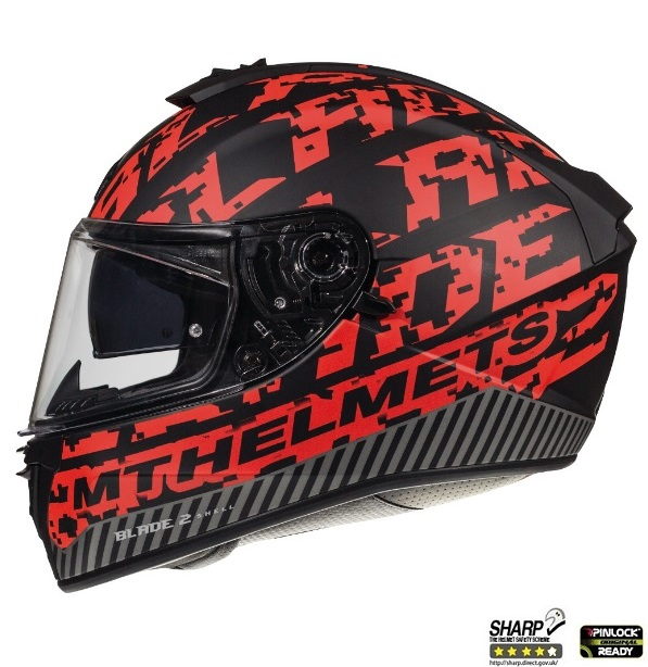 Casca integrala motociclete MT Blade 2 SV Check B5 rosu mat (ochelari soare integrati) [0]