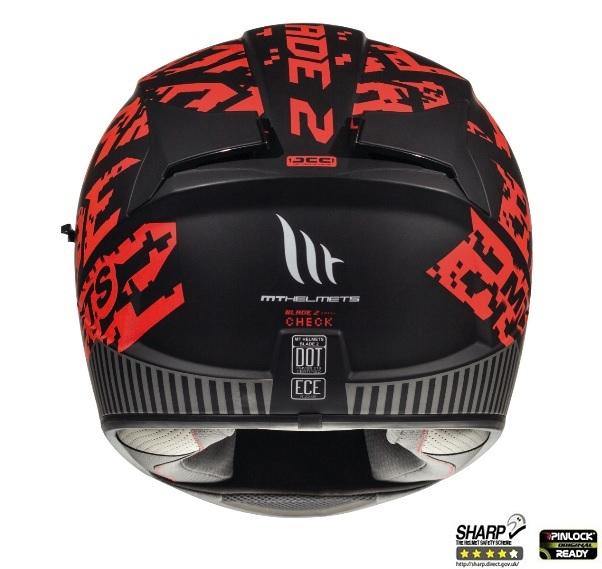 Casca integrala motociclete MT Blade 2 SV Check B5 rosu mat (ochelari soare integrati) [3]