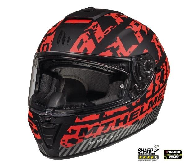 Casca integrala motociclete MT Blade 2 SV Check B5 rosu mat (ochelari soare integrati) [1]