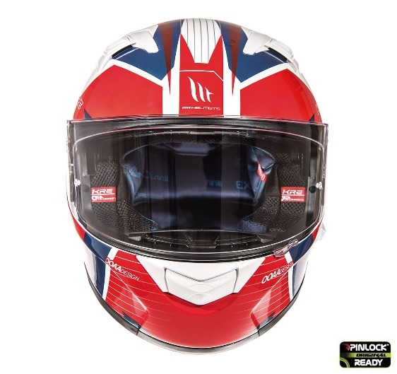 Casca integrala motociclete MT KRE SV RAD alb/rosu/albastru lucios (fibra sticla) – cu ochelari soare integrati [1]