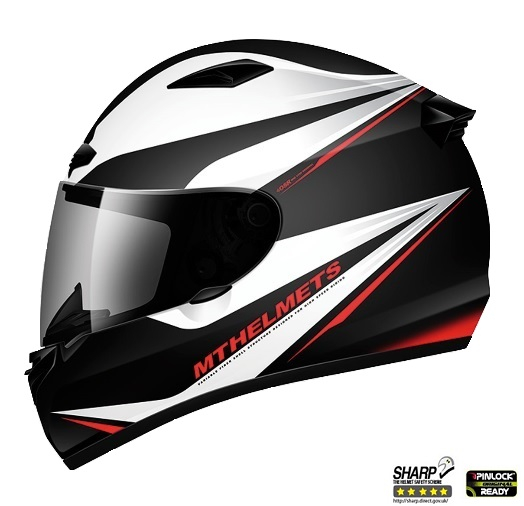 Casca integrala motociclete MT Matrix Incisor negru/alb/rosu lucios (fibra sticla) – cu sistem Air Pump [0]
