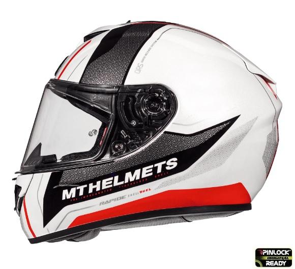 Casca integrala motociclete MT Rapide Duel D1 rosu/alb/negru luicos (fibra sticla) [0]