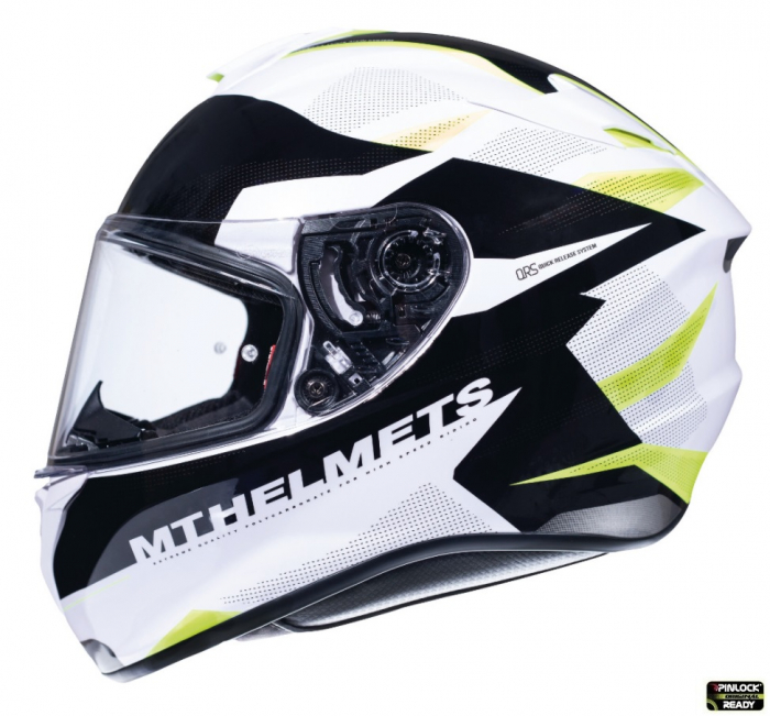 Casca integrala motociclete MT Targo Enjoy D3 galben fluor/alb/negru lucios [0]