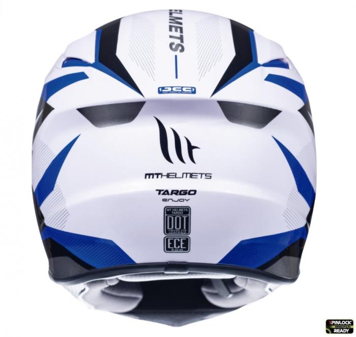 Casca integrala motociclete MT Targo Enjoy D7 albastru/alb/negru lucios [3]