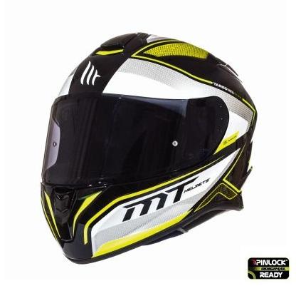 Casca integrala motociclete MT Targo Interact A4 galben fluor/alb/negru lucios [1]