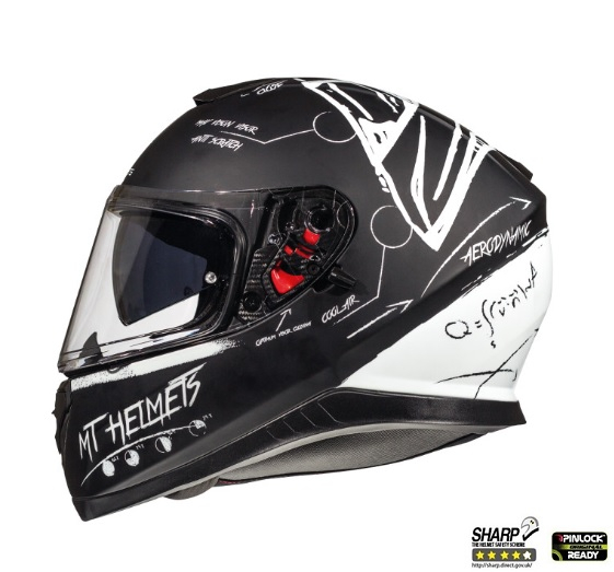 Casca integrala motociclete MT Thunder III SV Board negru/alb mat (ochelari soare integrati) [0]