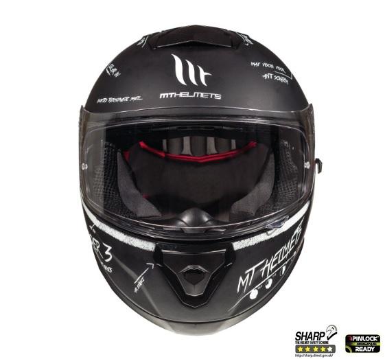 Casca integrala motociclete MT Thunder III SV Board negru/alb mat (ochelari soare integrati) [2]